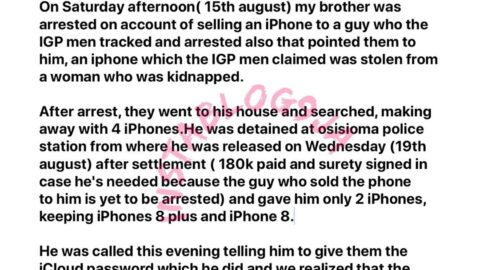 What happened after my brother was arrested for selling an iPhone 'belonging to a victim of kidnap' — Doctor