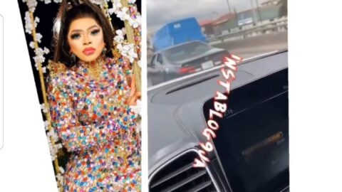Nigerian crossdresser, Bobrisky, slams a Toyota Camry driver for daring to separate her from his escort vehicle