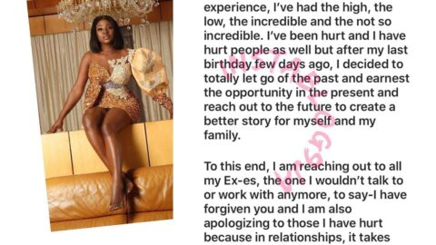 Whew! Actress Yvonne Jegede let's go of the past. Publicly reaches out to her ex-husband. [Swipe]