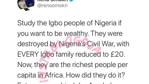 Study the Igbo people if you want to be wealthy — Reno Omokri