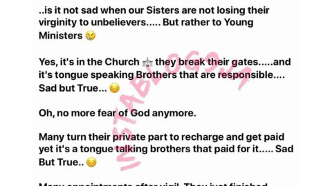 Virginity: Man laments how Young Ministers are plummeting sisters' virgin population through transactional vibrations.