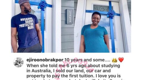 """""""I love you isn't in what you say but do,"""" Filmmaker Ejiro posits, as he reveals he sold properties to send his wife to school abroad."""