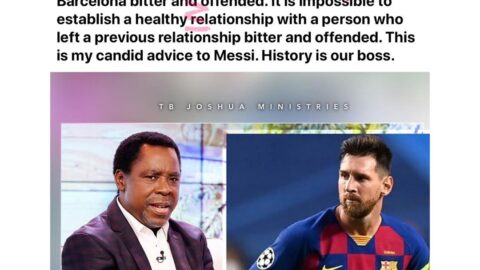 Footballer Messi may reconsider his decision to leave Barcelona FC, as Prophet TB Joshua wades in