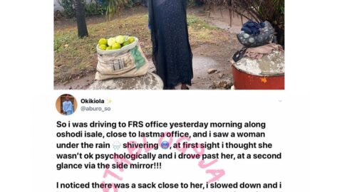 Counselor Okiki recount his heartbreaking encounter with a lady who stood in the rain to sell N1200 oranges. [Swipe]