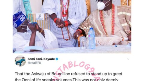 Ex-aviation minister, Femi Fani Kayode, frowns at Tinubu for not standing up to greet the Ooni of Ife at a recent event in Lagos
