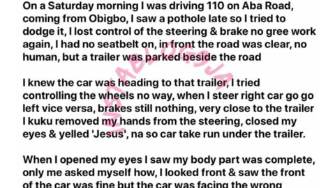 Lagos businesswoman recounts how yelling 'Jesus' saved her for a ghastly car accident. [Swipe]