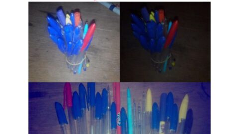 Nigerian author shows off the 22 pens he used during his 3-year NCE program