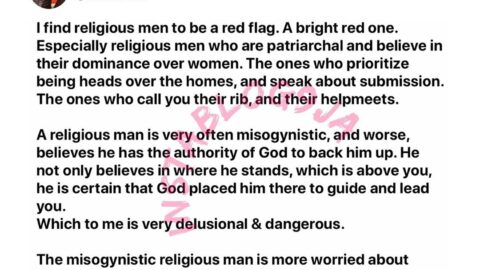 Why religious men are a red flag — Writer, Doreen [Swipe]