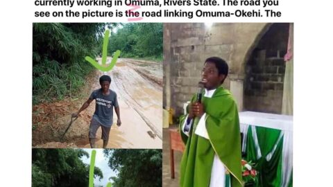 Priest hailed for working on a bad road in Omuma, Rivers State [Swipe]