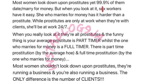 Why women who marry for money shouldn't look down on hookers — Vlogger, Shadaya Knight