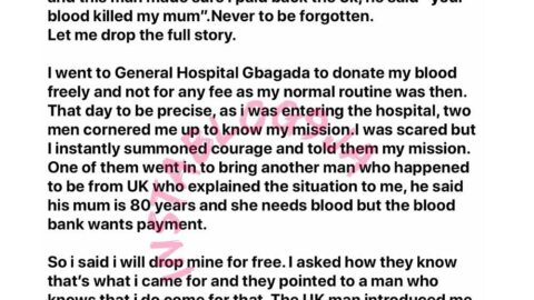 Son accuses blood donor of killing his mom, demands a refund of N5k payment. [Swipe]