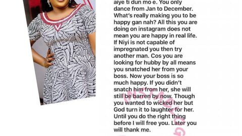 Actress Seyi Edun replies a lady who mocked her for not having a child and always being happy