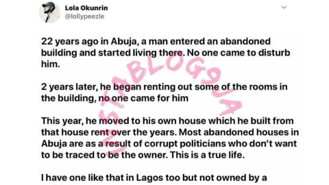 Man allegedly builds his own house with the money he made from renting out an abandoned house in Abuja