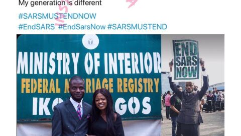 Man joins #Endsars protest after his court wedding in Lagos