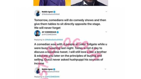 EndSARS: Comedian AY slams media personality, Noble Igwe, for calling out comedians [Swipe]