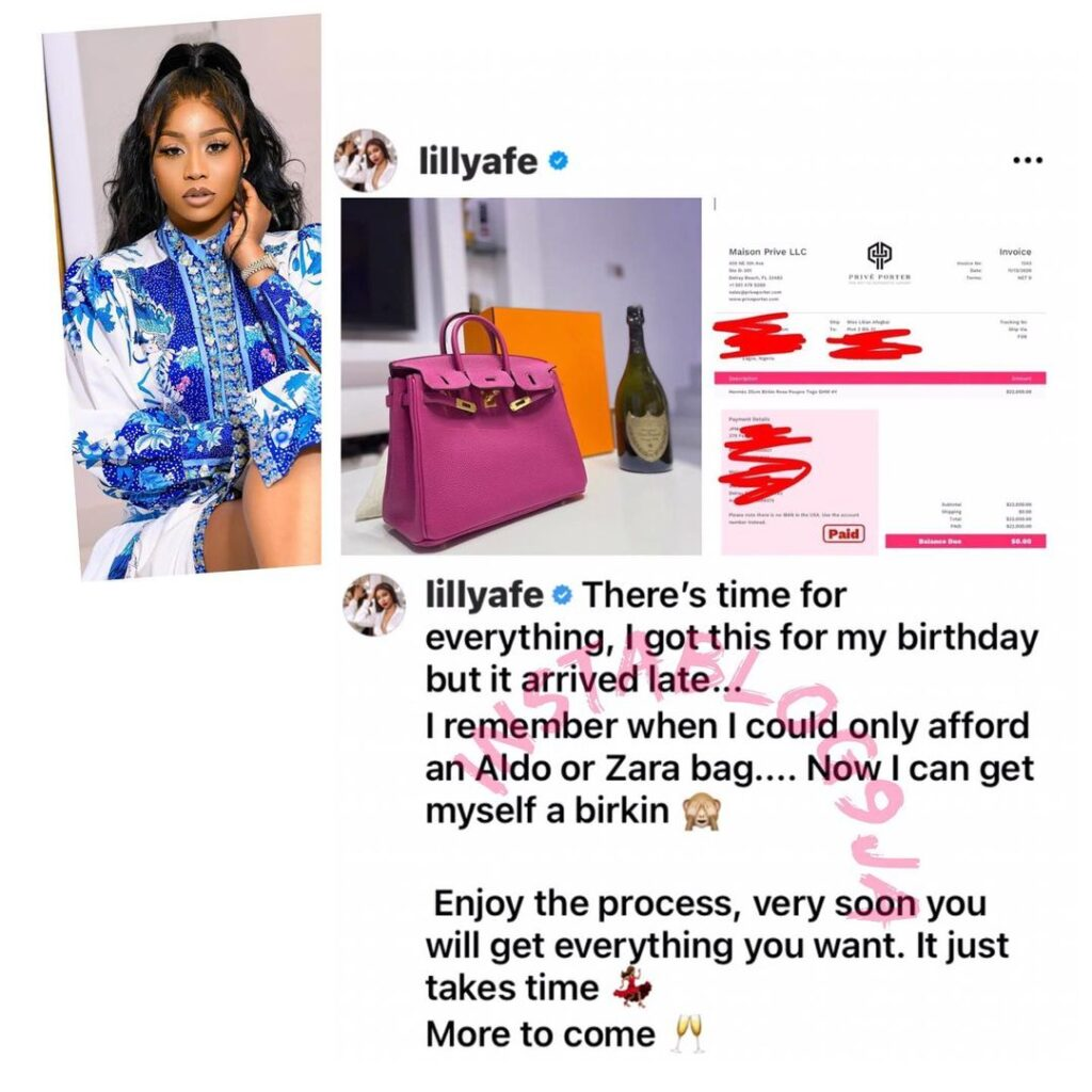 Actress Lilly Afegbai shows off her newly acquired $22,000 birkin bag