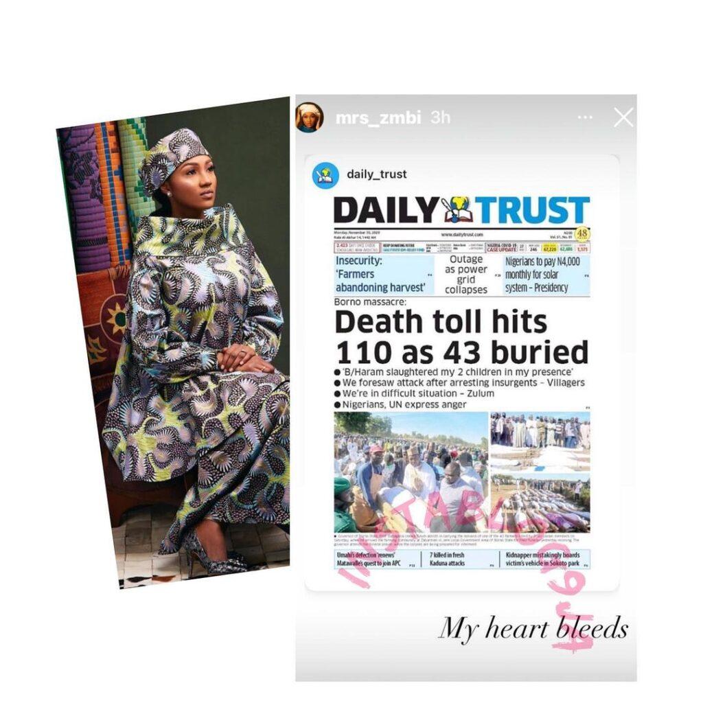 """My heart bleeds,"" Pres. Buhari's daughter, Zahra reacts to the killing of farmers in Maiduguri, Borno State"