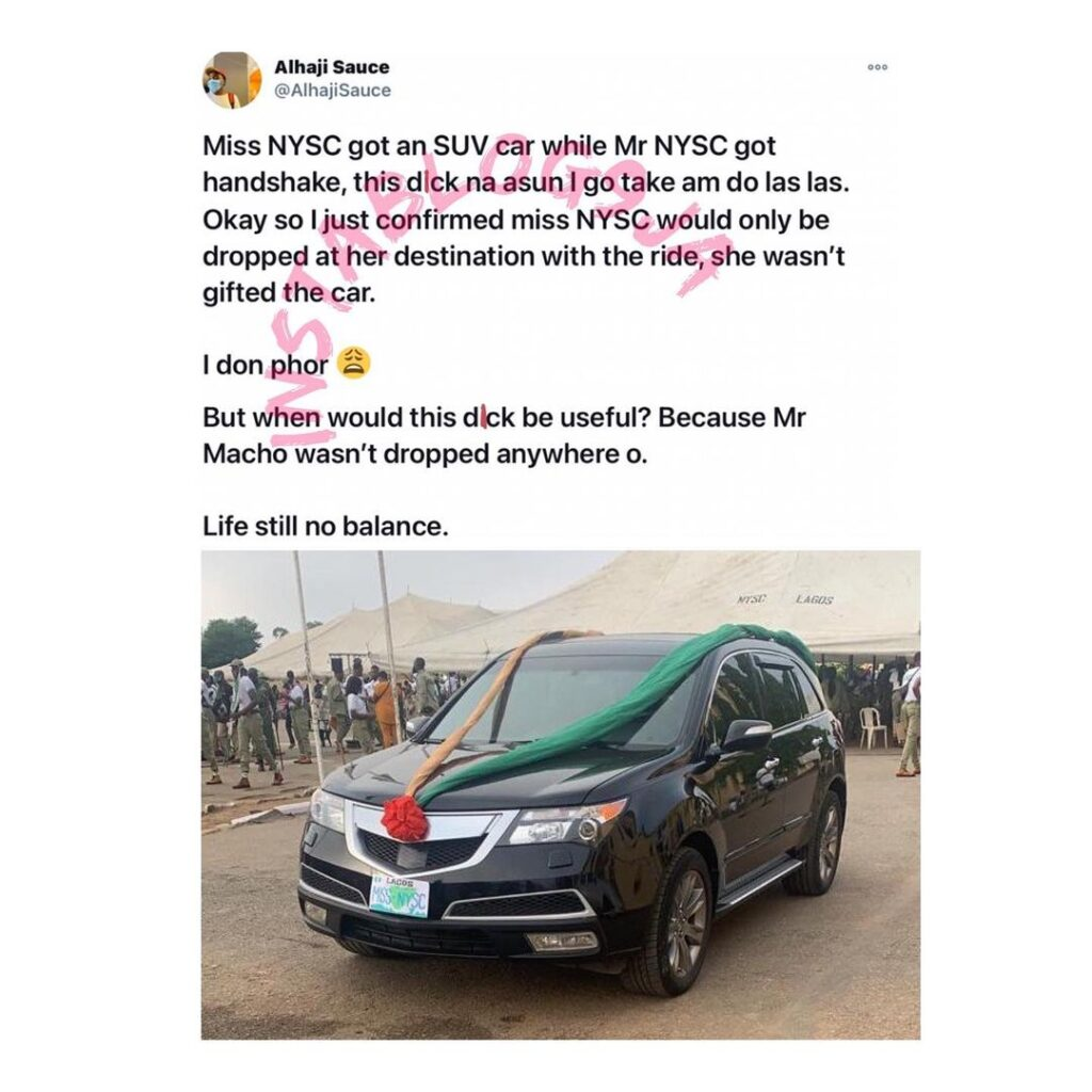 Man laments as Miss NYSC gets a free ride in an SUV while Mr NYSC gets an handshake