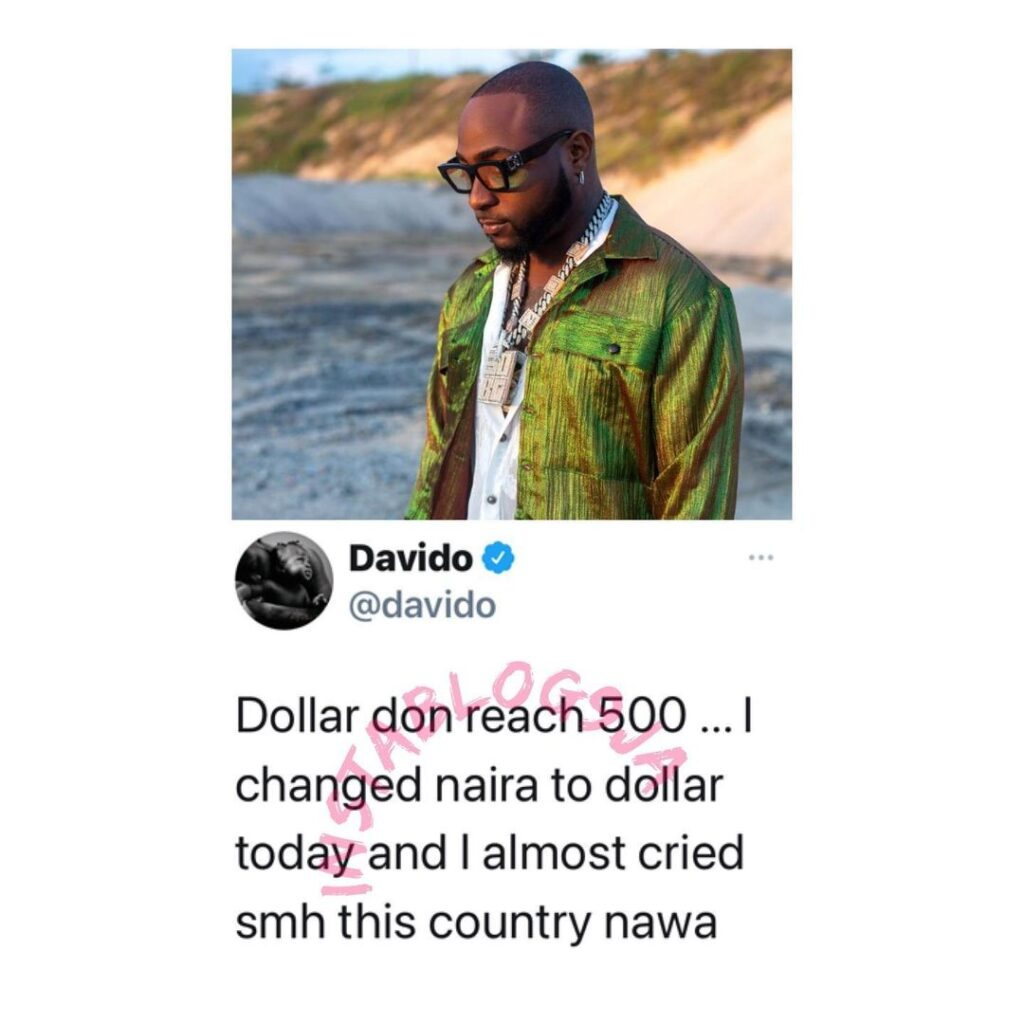 I changed naira to dollar today and I almost cried — Singer Davido