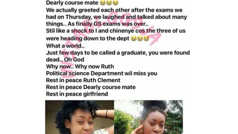 Sad: Final year NOCOED student found dead, days to her final exam