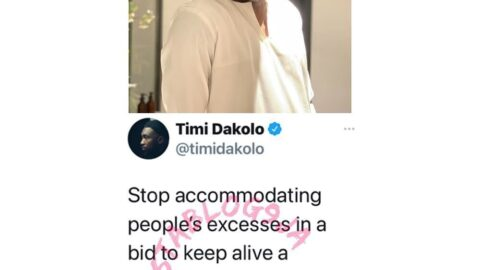 Stop accommodating people's excesses in a bid to keep alive a friendship or relationship — Singer Timi Dakolo