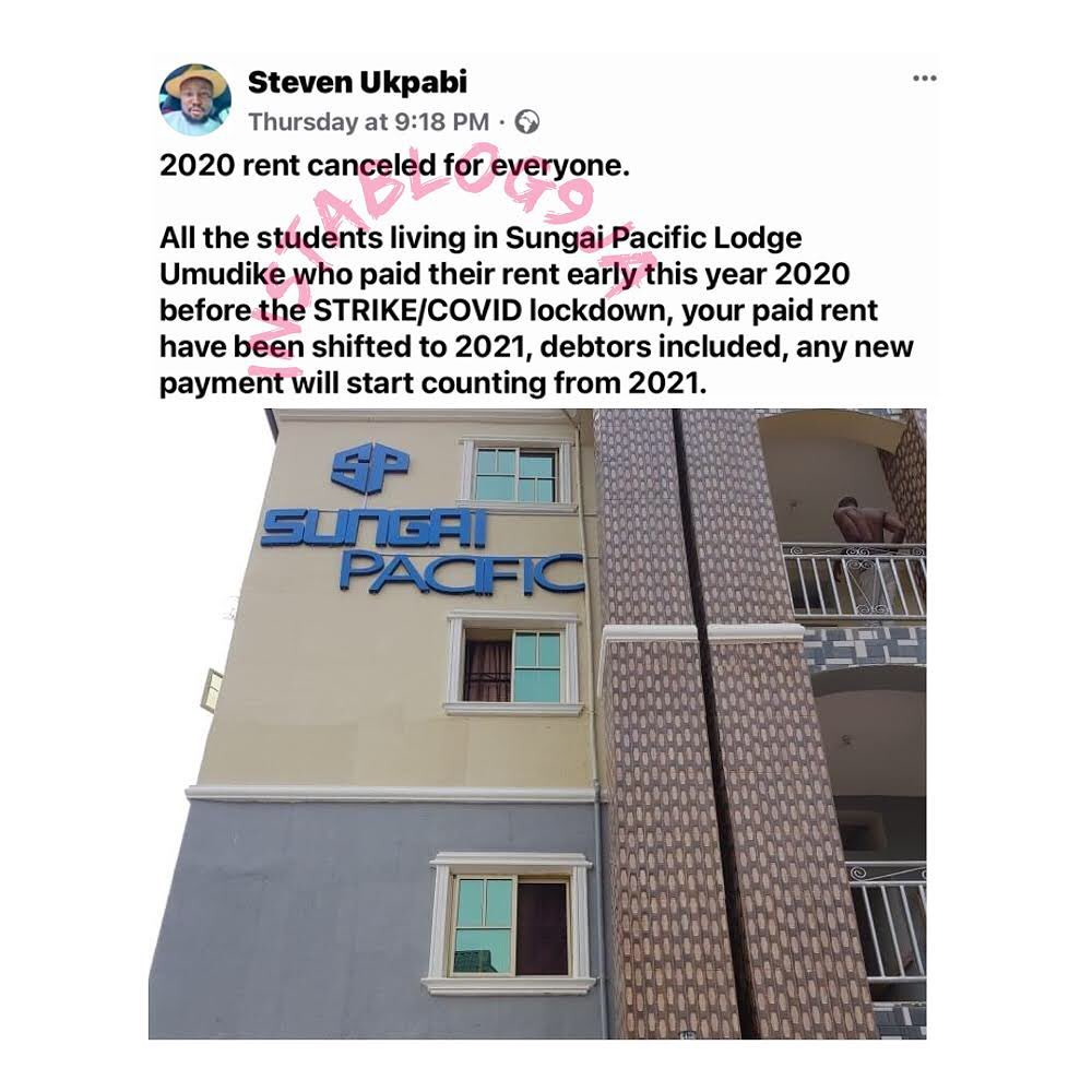 COVID-19: Landlord reportedly cancels 2020 rent for students living in his hostel