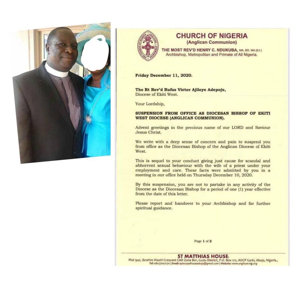 Diocese of Ekiti: Rev Rufus Adepoju suspended over alleged sexual misconduct with the wife of a priest [Swipe]
