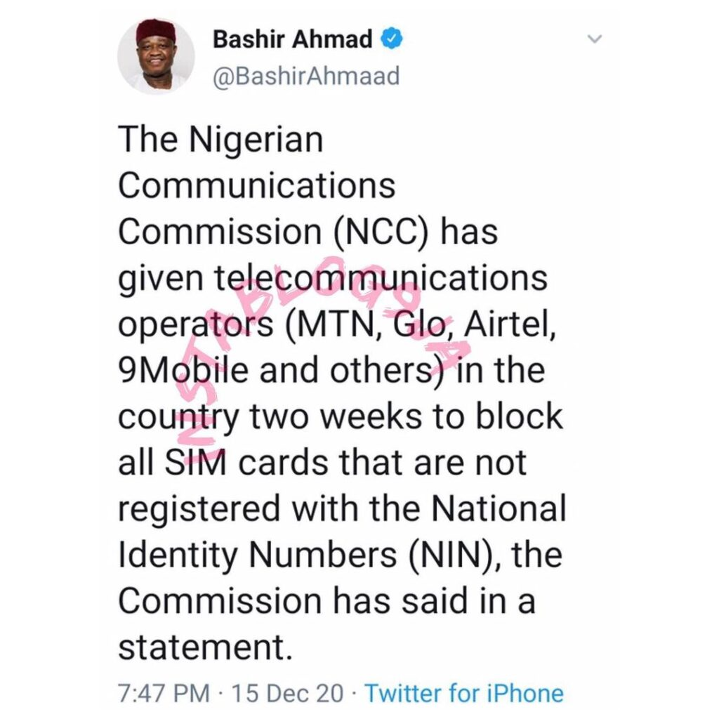 NCC gives telecommunications two weeks to block all SIM cards that are not registered with NIN