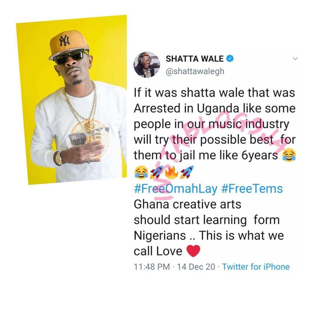 Ghana creatives need to learn how to love from Nigerians — Singer Shatta Wale