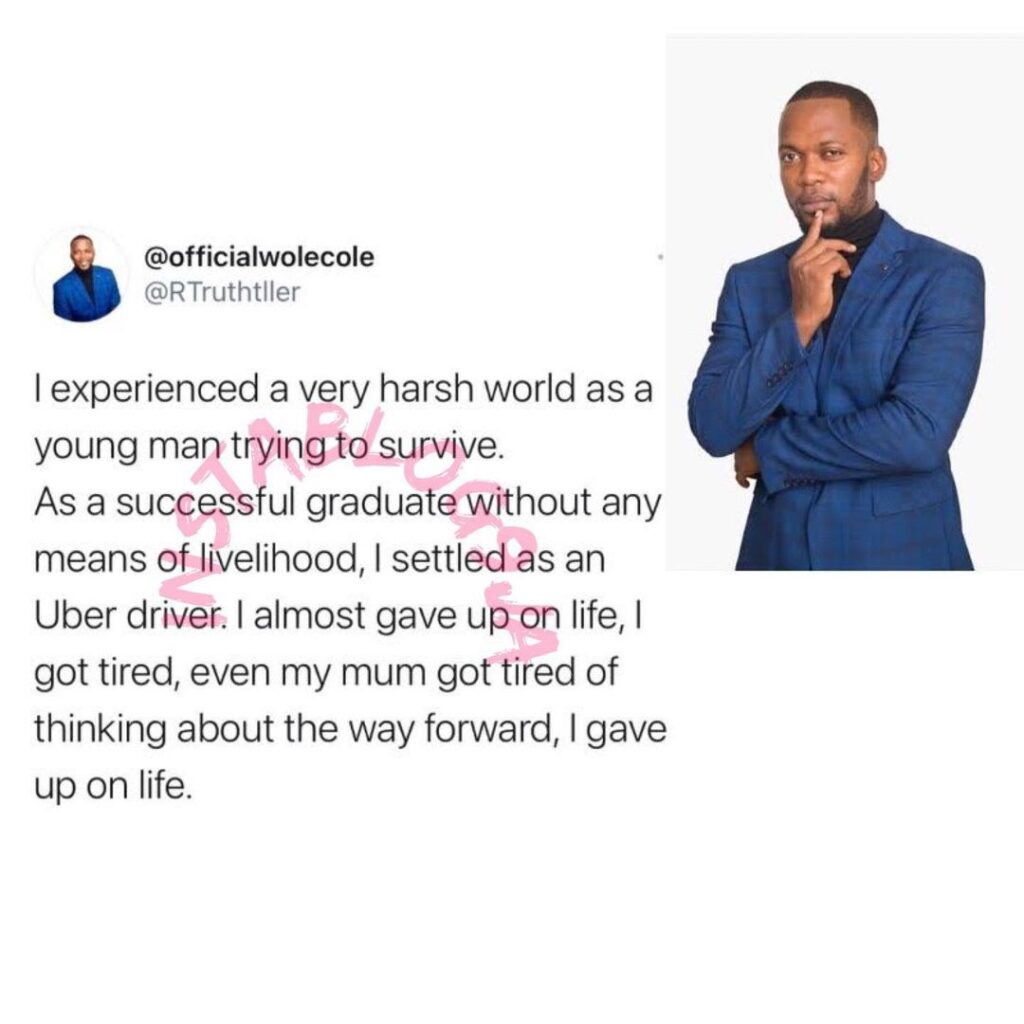 """""""I was a struggling taxi driver, close to giving up on life until I picked the House of Moses CEO, God hadn't given up on me"""" - House of Moses Reality TV Show host, Wole Cole. #houseofmoses"""