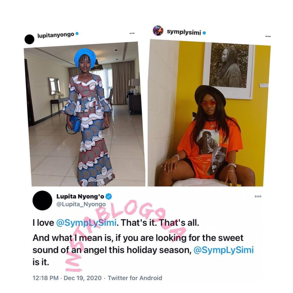 Actress Lupita Nyongo acknowledges Singer Simi's musical prowess