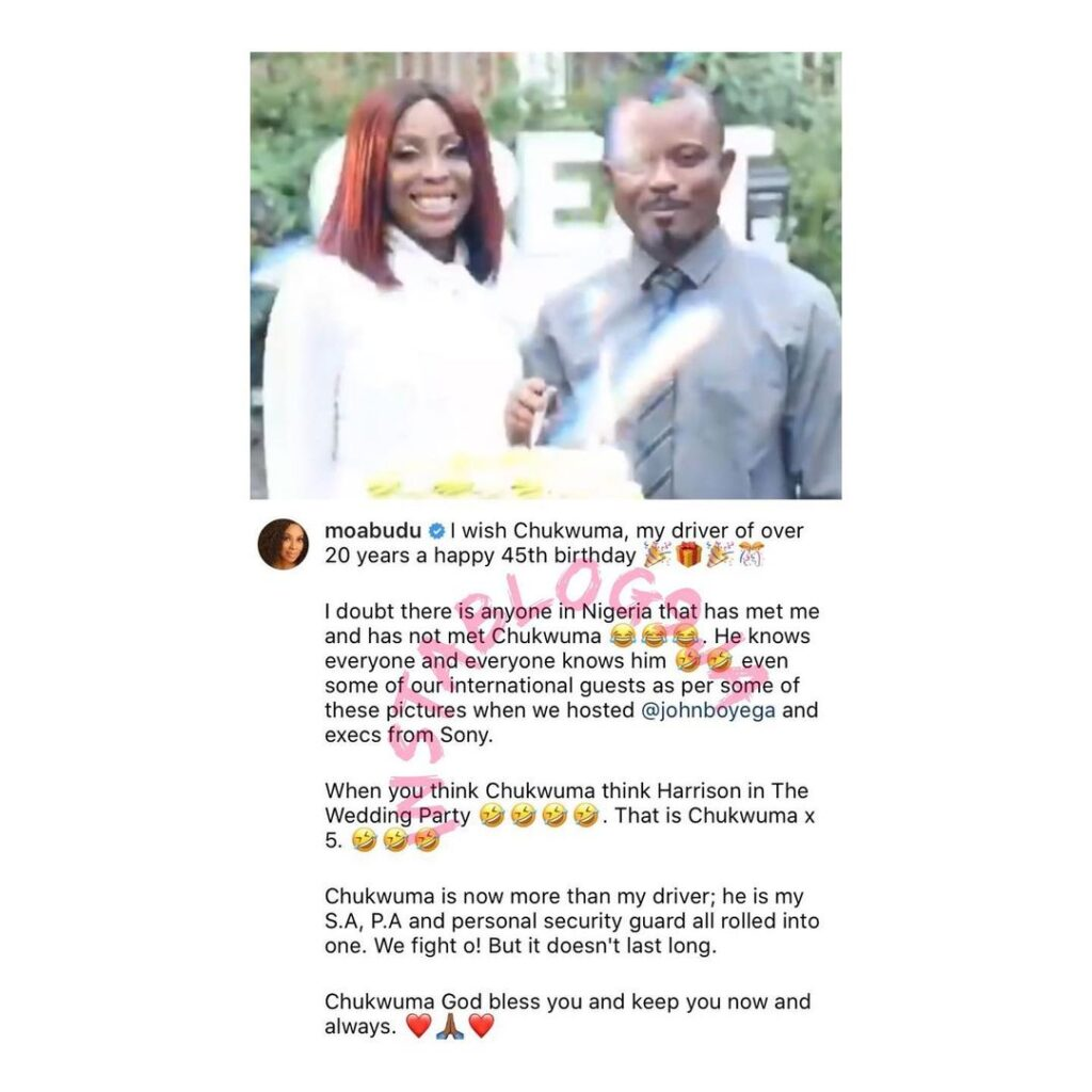 Media personality Mo Abudu celebrates her driver of 25 years on his birthday