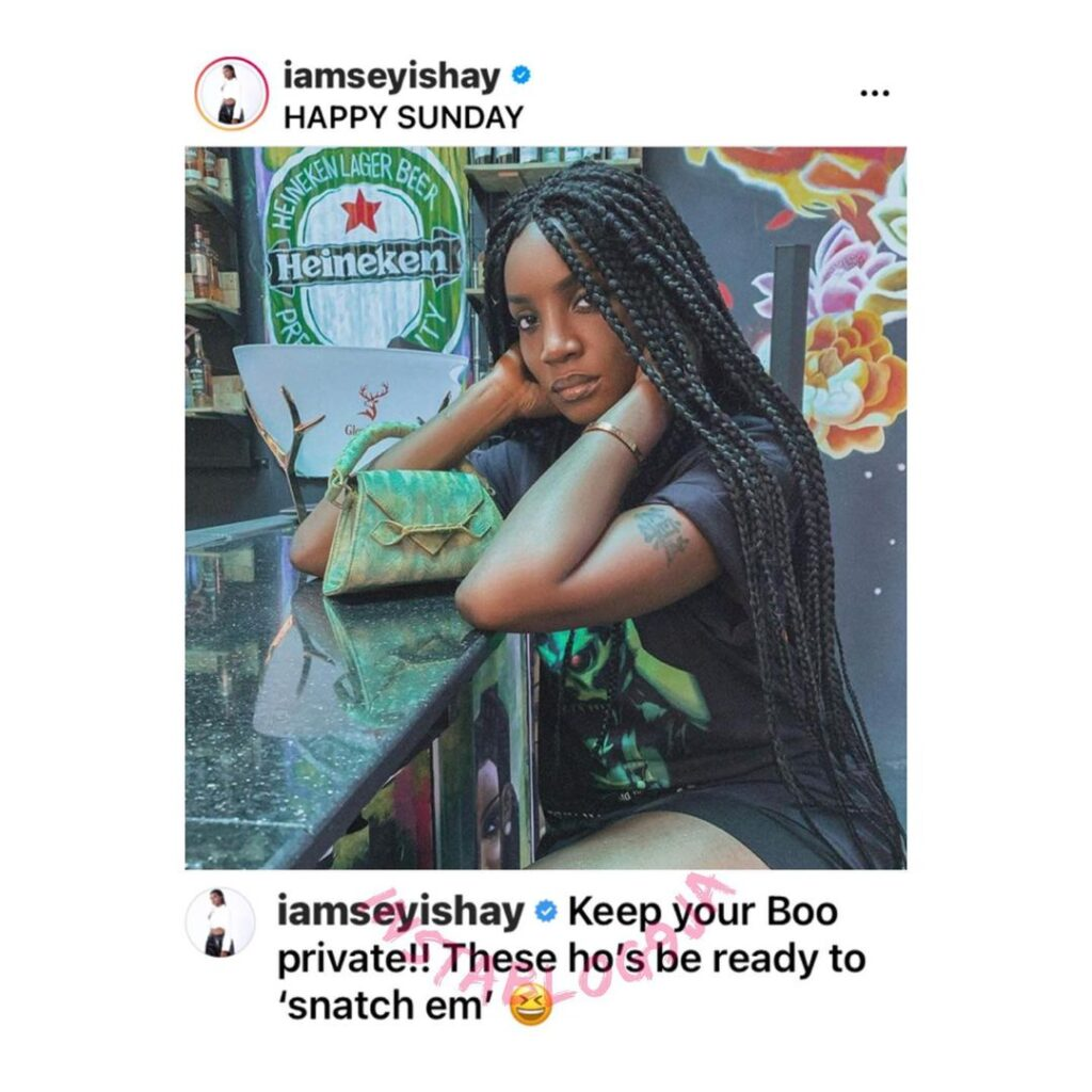 Singer Seyi Shay reminds ladies why it's vital to keep their boos private