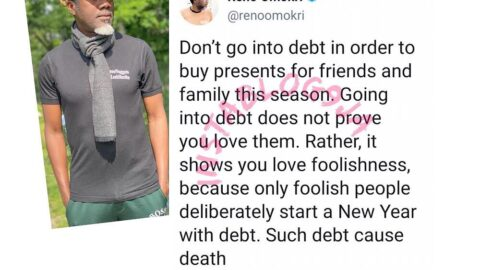 Only foolish people deliberately start a New Year with debt — Reno Omokri