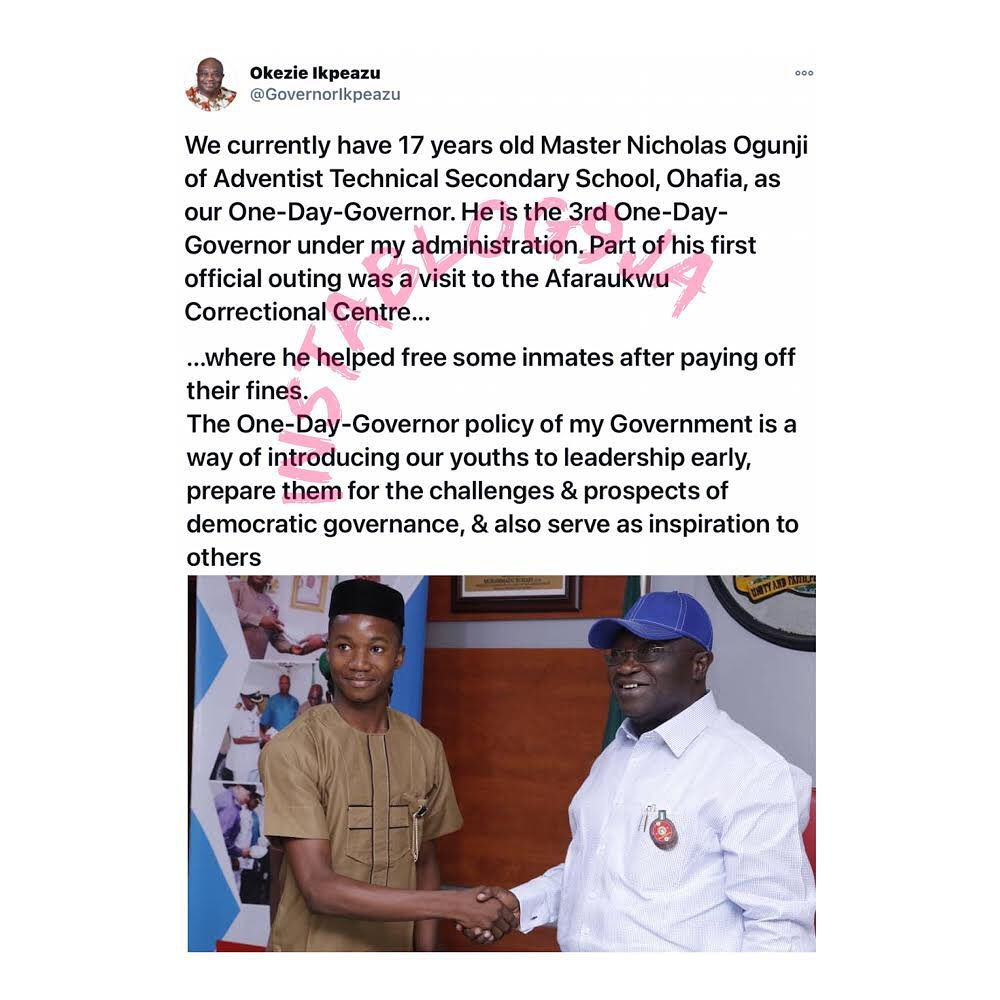 17-year-old one-day Abia Governor sets inmates free