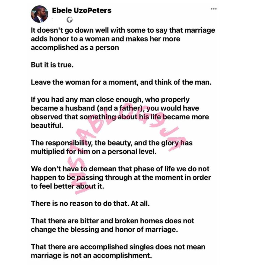 Marriage adds honor to a lady and makes her more accomplished — Writer Uzo Peters. [Swipe]