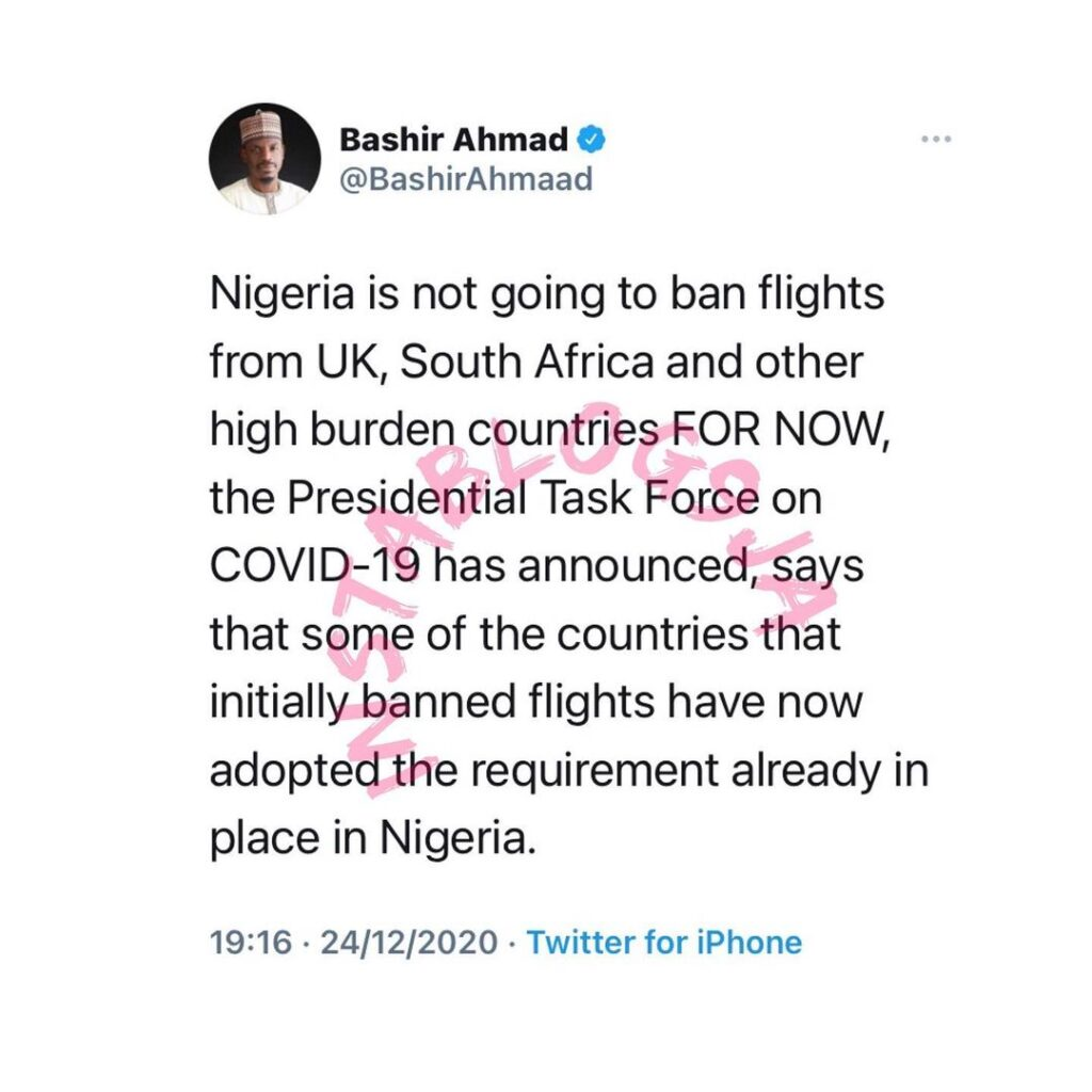 COVID-19 Variant: Nigeria isn't going to ban flights from UK, S. Africa — FG