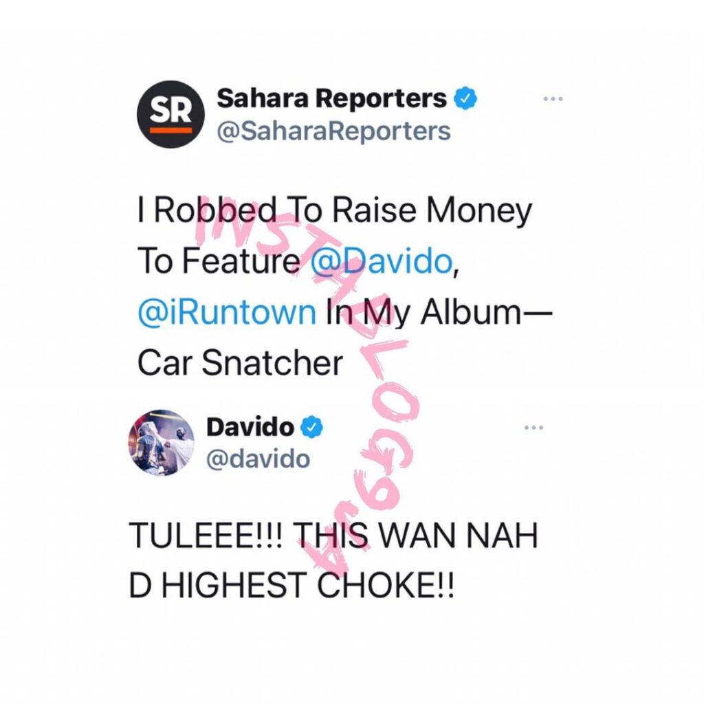 Davido reacts to the news of man who reportedly robbed to raise money to feature him and Runtown