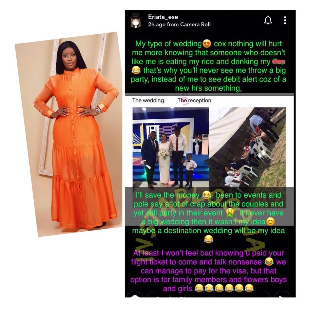 Nothing hurts me more than knowing my enemy is eating my wedding rice — Actress Eriata Ese [Swipe]