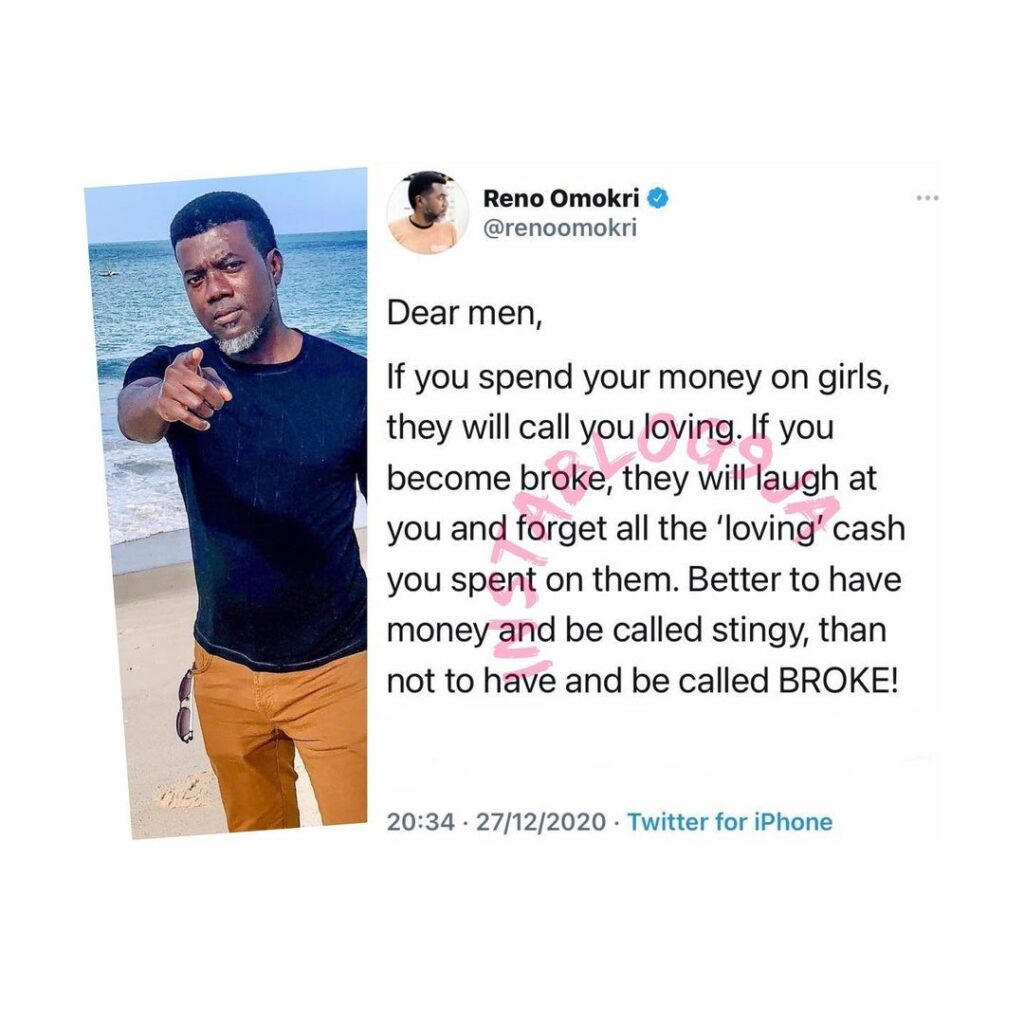 It's better to be called rich and stingy — Reno Omokri tells Men