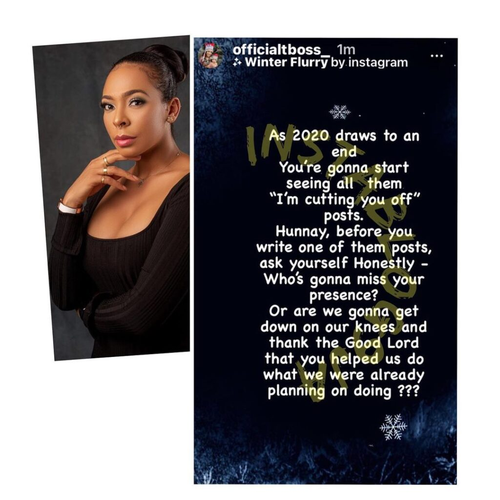 Reality TV star Tboss tackles those posting about cutting people off in the new year
