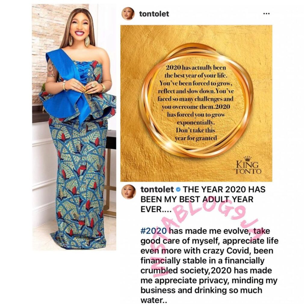 2020 has been the best year of your life — Actress Tonto Dikeh