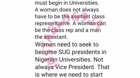 The end to gender discrimination in Nigeria must begin in Universities — Doctor