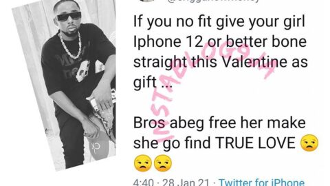Vals: If you can't give your girl an iPhone 12 or Bone Straight hair, let her go and find true love — Rapper Erigga