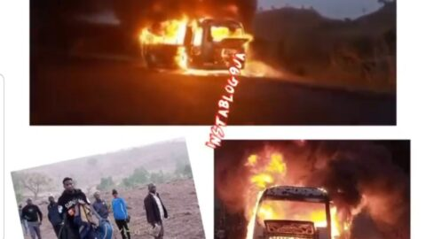 Just In: Wikki Tourists FC players escape death as their bus guts fire in Plateau State while heading to Akwa Ibom State for a match.