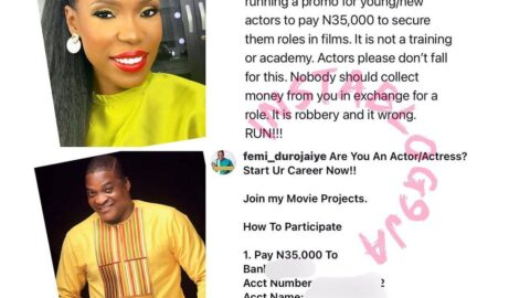 Actress Lala Akindoju calls out her colleague, Femi Durojaiye, for demanding money for movie roles [Swipe]
