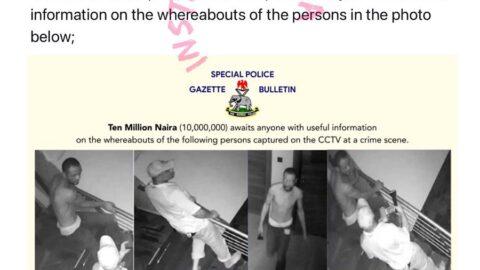 Nigeria police force offers a N10m reward for information on suspected criminals