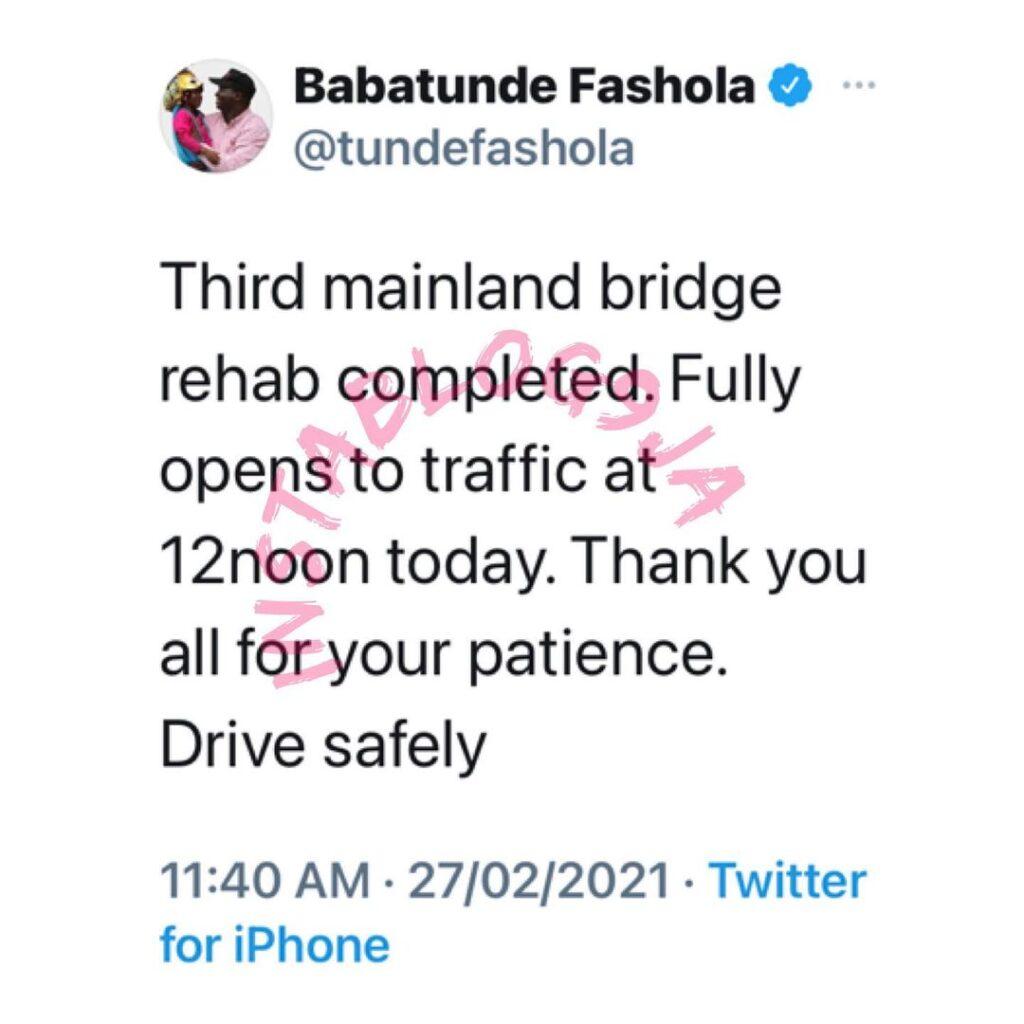 Third mainland bridge fully open to traffic