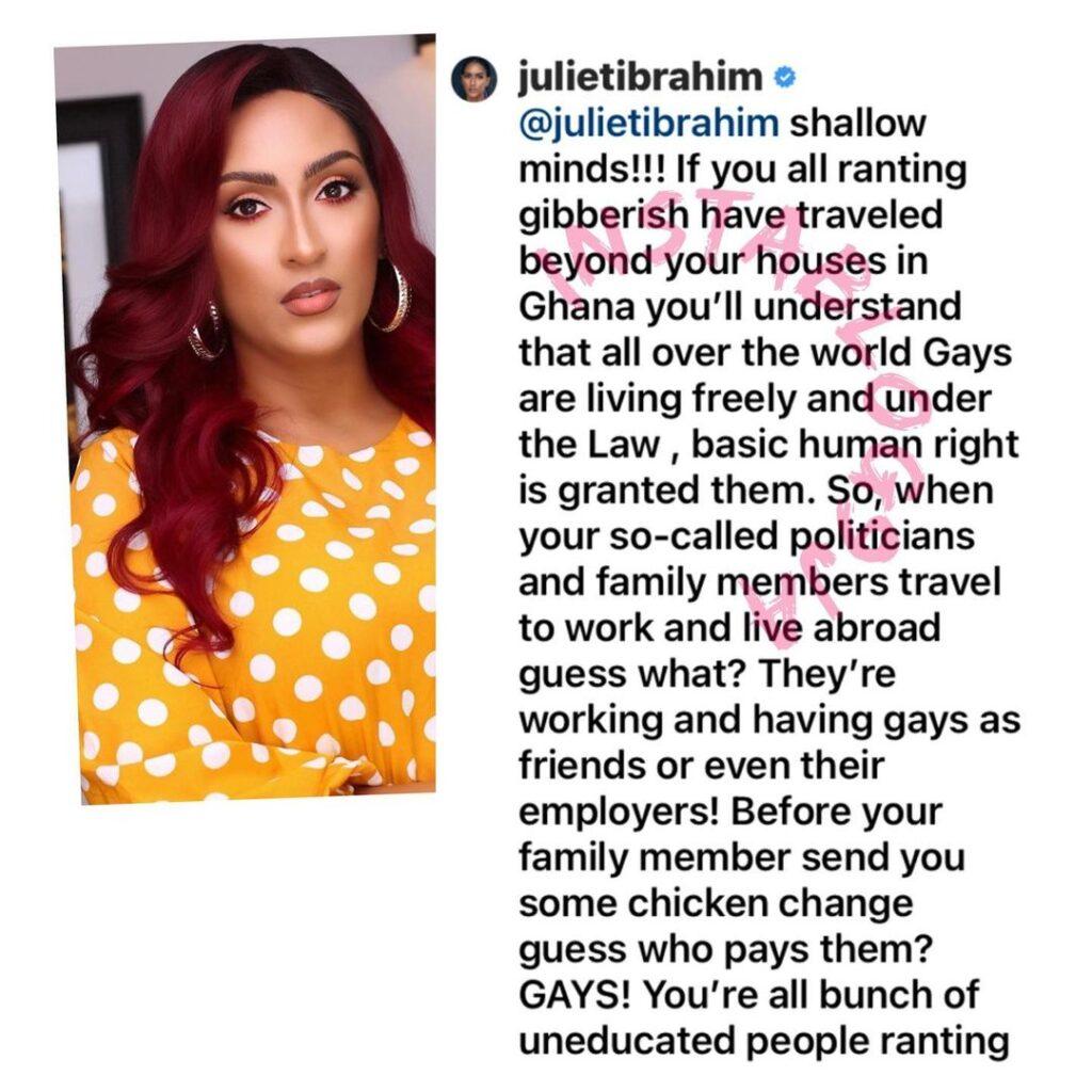Actress Juliet Ibrahim tackles homophobes kicking against homosexuality [Swipe]