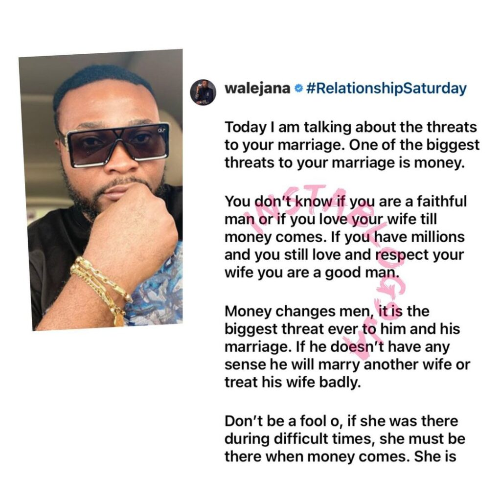 Money is the biggest threat to a man and his marriage — Businessman Wale Jana [Swipe]